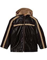 Momo Grow Big Boys Faux Leather Hooded Racer Jacket - Brown XS