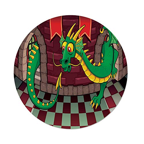 Polyester Round Tablecloth,Cartoon,Video Game Design inside the Castle with Dragon Fantasy World Medieval Illustration,Ruby Green,Dining Room Kitchen Picnic Table Cloth Cover,for Outdoor ()