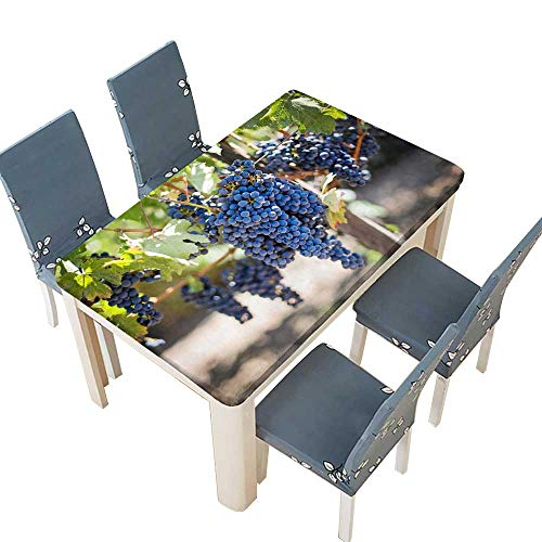 PINAFORE Tablecloth Waterproof Polyester Table Purple Grapes Under The Grapevine Tablecloth for Wedding/Party W45 x L84.5 INCH (Elastic Edge)
