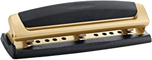 Swingline Desktop Hole Punch, Hole Puncher, Precision Pro, Adjustable, 2-3 Holes, 10 Sheet Punch Capacity, Black/Gold (74086)