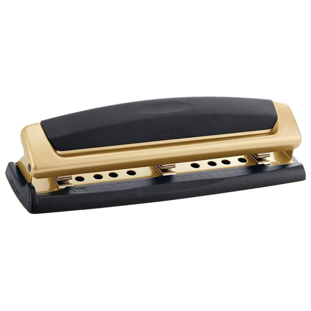 Swingline Desktop Hole Punch, Hole Puncher, Precision Pro, Adjustable, 2-3 Holes, 10 Sheet Punch Capacity, Black/Gold (74086) ACCO Brands A7074086