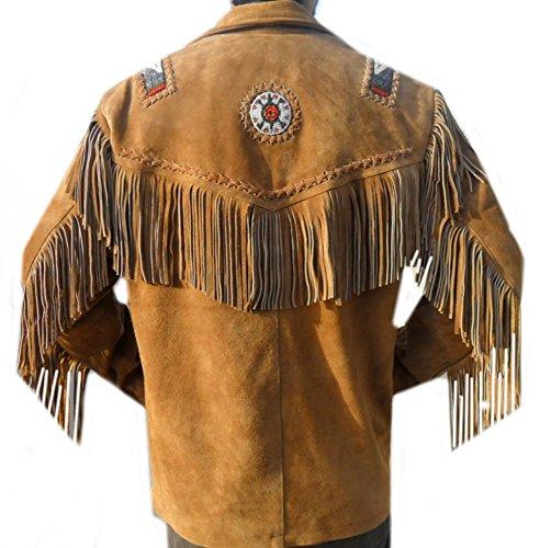 E Da Di Brown Pelle Cowboy Classyak Ossa Perline Suede Giacca Frange Uomo 8adxd46