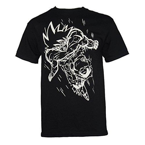 Dragonball Z Men's White Line Goku T-Shirt Black M