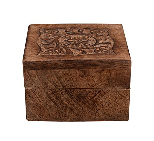 Jewelry Storage Trinket Keepsake Box Wooden Handmade Burnt Finish Floral Design Organizer 4 X 4 Inches by Store Indya (Country Living Halloween Ideas)