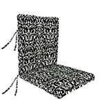 Plow & Hearth Classic Polyester Outdoor Large Club Chair Cushion With Ties, 44'' x 22'' with hinge 22'' from bottom - Pine Filigree