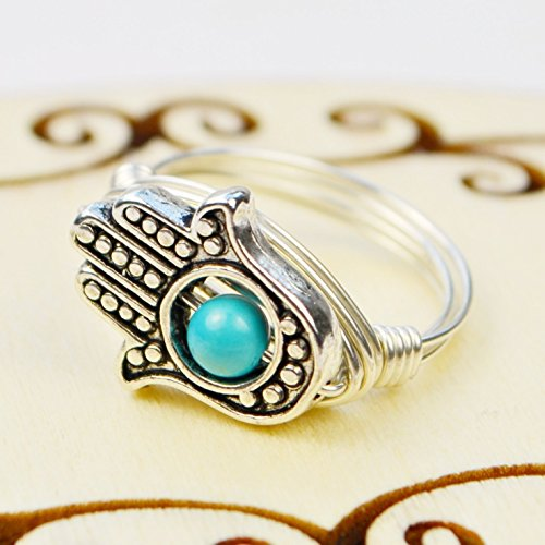 Gemstone Choice Twist (Hamsa Hand and Turquoise Howlite Gemstone Wire Wrapped Ring- Choice of Sterling Silver or Gold Filled Wire- Custom made to size)
