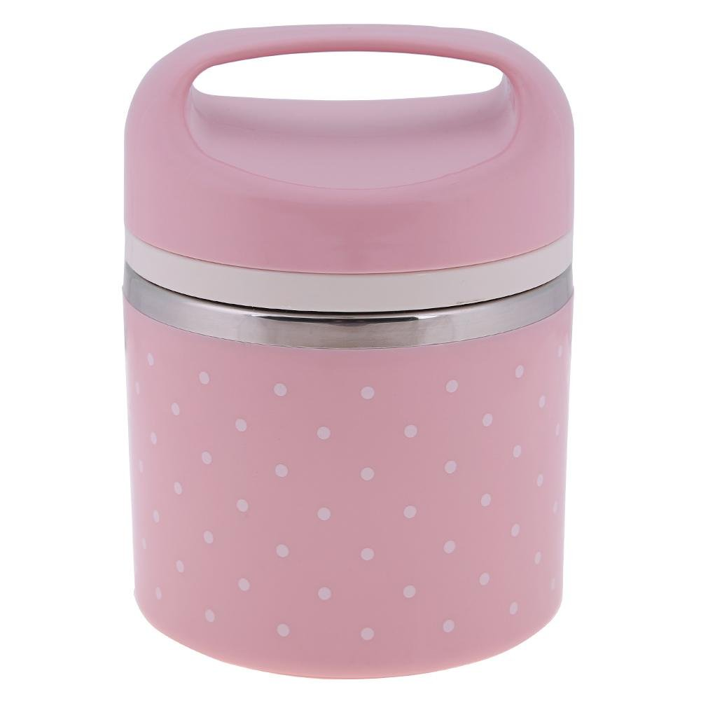 Matefield Portable Stainless Steel Thermal Lunch Box Insulated Food Container(Pink)