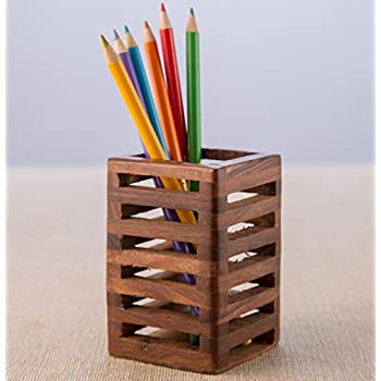 Rusticity Pen / Pencil Holder Wood Mesh Design for Desk, Office, and Home |