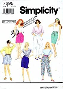 Simplicity 7295 Sewing Pattern Pants Short Skirt Size 6 - 24