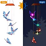 CXFF LED Solar Butterfly Wind Chimes Outdoor - Waterproof Solar Powered LED Changing Light Color 6 Butterflies Mobile Romantic Wind-bell For Home, Party, Festival Decor, Night Garden Decoration