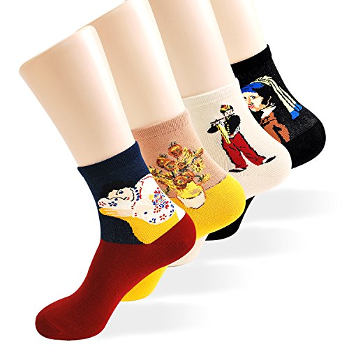 Womens Art Patterned Casual Crew Socks - Famous Painting Collection (Master 2) (Spring Fashionable)