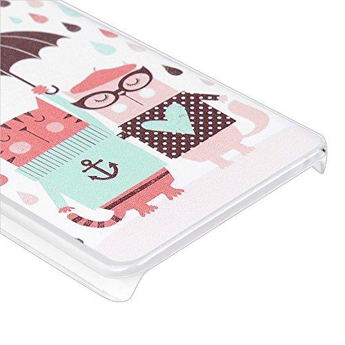 Funda BQ Aquaris M5, Lanveni Carcasa Rígida PC Plástico Super Fit Ultra Slim para BQ Aquaris M5 Transparente Protective Case - Patrón Gato Paraguas Diseño Diseño 9