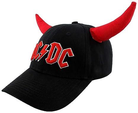c0a156f3a8e4b AC DC Hells Bells - with Horn Cap Black-red  Amazon.co.uk  Clothing