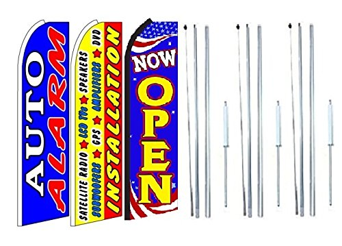 Lcd Pole Kit (Auto+alarm,+installation+satelite+radio,+lcd,+speakers,+amplifiers, Now Open King Swooper Feather Flag Sign Kit With Complete Hybrid Pole set- Pack of 3)
