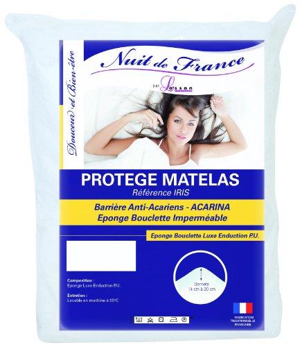 Nuit de France 329361 140/190 Protège Matelas Polyuréthane/Coton/Polyester Blanc 190 x 140 x 1 cm