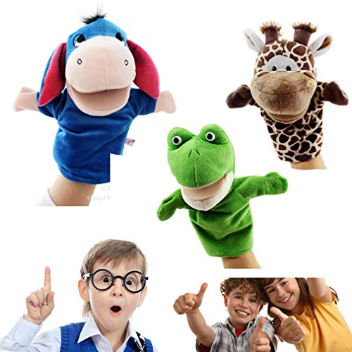 COSHAYSOO Hand Puppets Animal Friends Deluxe Kids with Working Mouth (Pack of 3) for Imaginative Play (Frog Deer Donkey)