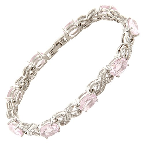 RIZILIA XOXO Link Tennis Bracelet & Oval Cut CZ [Simulated Pink Sapphire] in White Gold Plated, 7