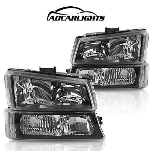 Headlight Assembly Replacement for 2003 2004 2005 2006 Chevy Avalanche 03 04 05 06 07 Chevrolet Silverado 1500 2500 3500 Pickup Headlamp with Bumper Lights Passenger and Driver Side (Black & Amber)
