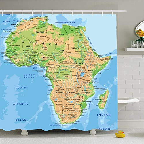 Ahawoso Shower Curtain for Bathroom 60x72 African High Detailed Africa Physical Map Labeling Abstract Continent Madagascar South Relief Atlas Waterproof Polyester Fabric Bath Decor Set with Hooks (Physical Geography Of Africa South Of The Sahara)