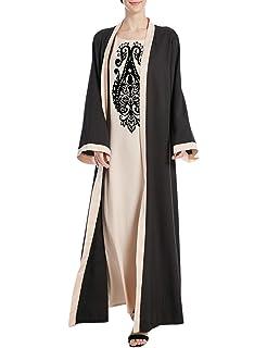 bc3055f57bc1 besbomig Musulmani Dubai Robe Sera Vestito Abaya Cardigan Lungo Cucitura  Abito - Donna Chimono Dubai Vacanza