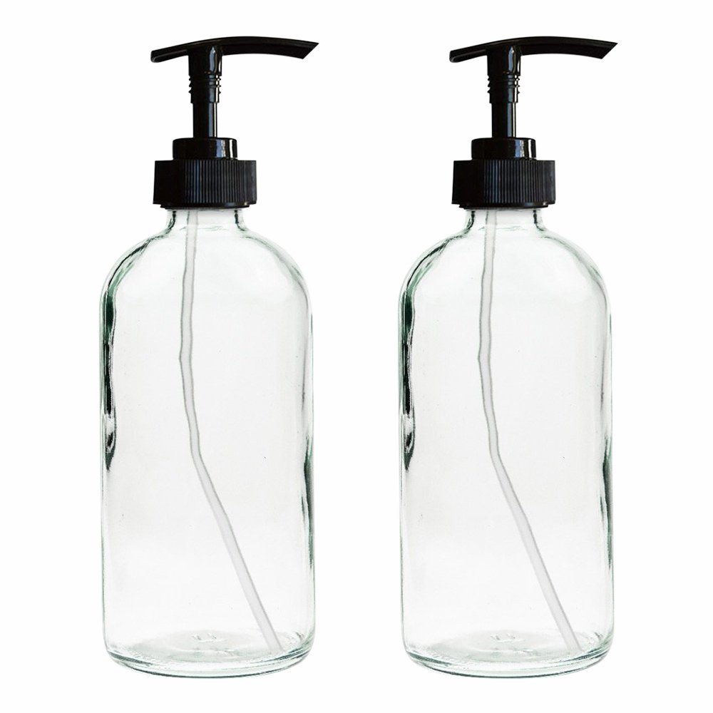 2-Pack - 16oz Clear Glass Boston Round Bottles with Black Plastic Soap Pumps, Great for Essential Oils, Lotions, Liquid Soaps Troy