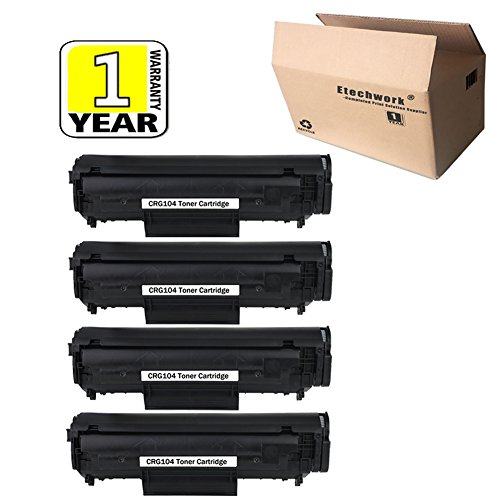 Etechwork CRG104 Toner Cartridge 4 Pack Compatible for Canon ImageCLASS MF4350 MF4370 MF4380DN MF4690 LaserBase MF4100 MF4150 MF4270, Black Color by Etechwork