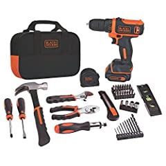 The BLACK+DECKER BDCDD12PK 12V MAX Drill Project Kit features a powerful compact 12V MAX lithium drill/driver and 59 hand tools and accessories most commonly used for DIY projects and household tasks;this home tool kit can help you tackle pro...