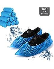 LIVINO - Fundas desechables para zapatos, 100 piezas (50 pares) para botas desechables antideslizantes, talla única para todas las fundas de zapatos reutilizables e impermeables para interiores (azul)
