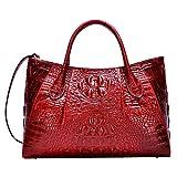 PIJUSHI Women Handbags Crocodile Top Handle Bag Designer Satchel Bags For Women (5002A, Red)