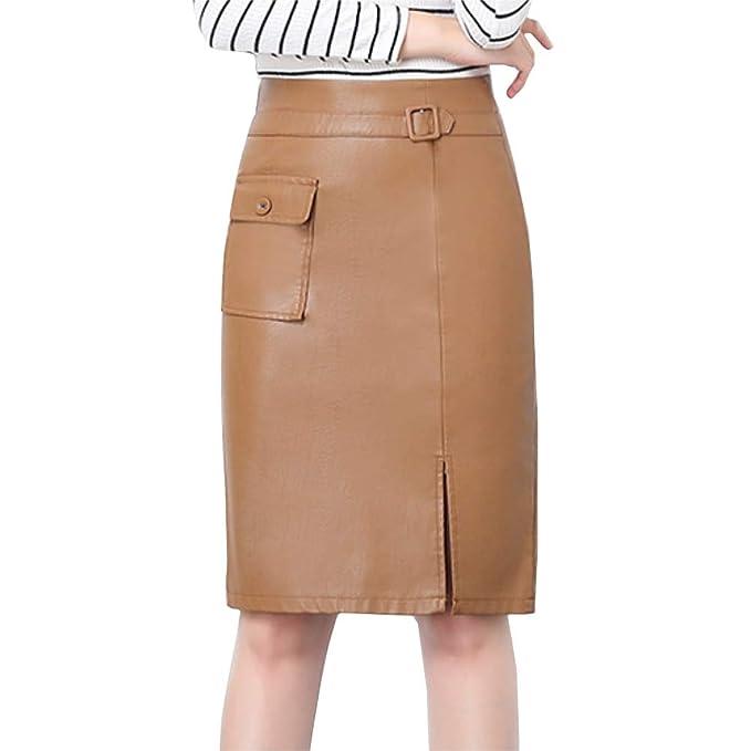 DISSA D6312 - Falda de Piel sintética para Mujer Caqui 38: Amazon ...