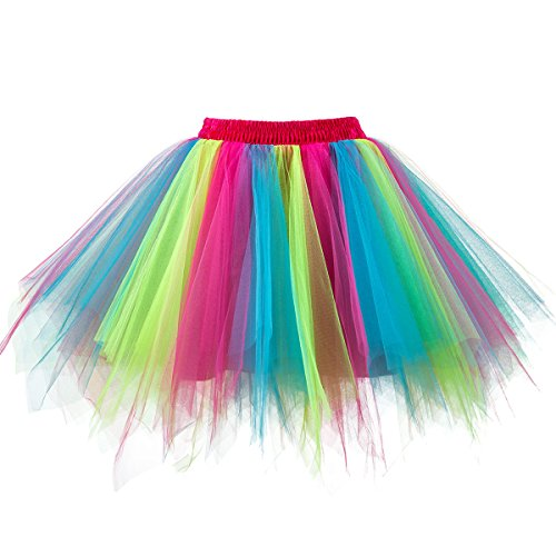 Topdress Women's 1950s Vintage Tutu Petticoat Ballet Bubble Skirt (26 Colors) Rainbow L/XL