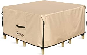 UCEDER Square Patio Heavy Duty Table Cover 100% Waterproof 74 inches Outdoor Dining Table Chair Set Cover fit Square/Round Patio Table and 4-6 Standard Chairs