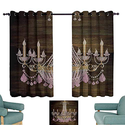 DILITECK Sliding Curtains Rustic Wooden Planks Crystal Chandelier Fashionable Textile Modern Special Collection Decorative Item Elegant Decor Blackout Draperies for Bedroom Window W55 xL45 Brown Pink ()