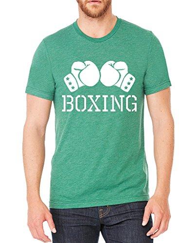 Men's Boxing Gloves Green Tri Blend T-Shirt C2 – DiZiSports Store
