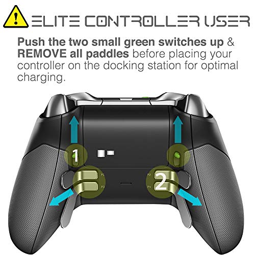 Fosmon Xbox One /One X /One S Controlador del cargador, [Dual Slot] Estación de carga /acoplamiento de alta velocidad con 2 paquetes de baterías recargables de 1000mAh (compatible estándar)