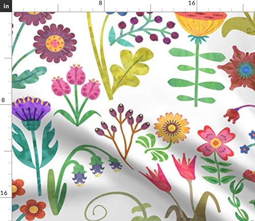 Swedish Folk Art Florals Fabric - Swedish Folk Art Swedish Folk Art Folk Swedish Garden Flower Floral Spring Nursery Decor by Artfully Minded Printed on Petal Signature Cotton Fabric by The Yard