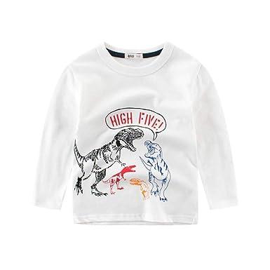 Niños Camisetas De Manga Larga Algodón Estampado Dinosaurio Varios ...