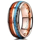 THREE KEYS JEWELRY 8mm Rose Gold Tungsten Wedding Ring with Real Koa Wood Antler Turquoise Inlay Dome Hunting Ring Wedding Band Engagement Ring Size 11.5
