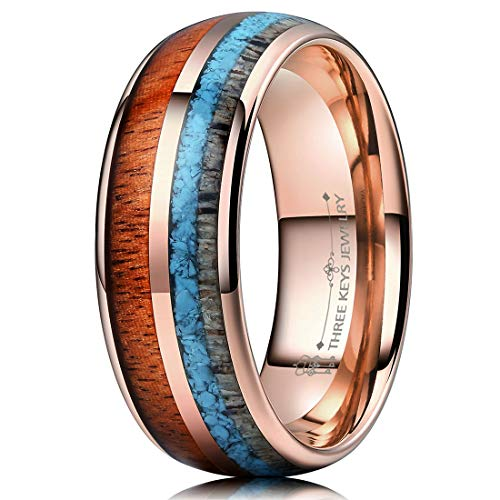 THREE KEYS JEWELRY 8mm Rose Gold Tungsten Wedding Ring with Real Koa Wood Antler Turquoise Inlay Dome Hunting Ring Wedding Band Engagement Ring Size 12.5 ()