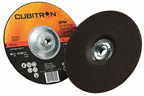 "6"" Type 27 Ceramic Grain Abrasive Cut-Off/Grind Wheel, 5/8""-11 Arbor, 0.125""-Thick, 15,300 Max. RPM"