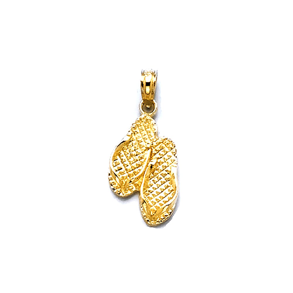 14k Yellow Gold Travel Charm Pendant, Pawleys Island Double Flip-flop SC (South Carolina)