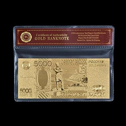 Desconocido Monedero de Papel Chapado en Oro de 24 K 999.9 ...