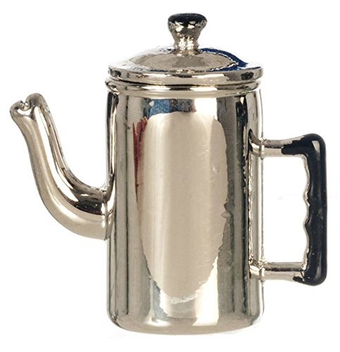 Dollhouse Miniature Old Fashioned Metal Coffee Pot w/ Removable Lid