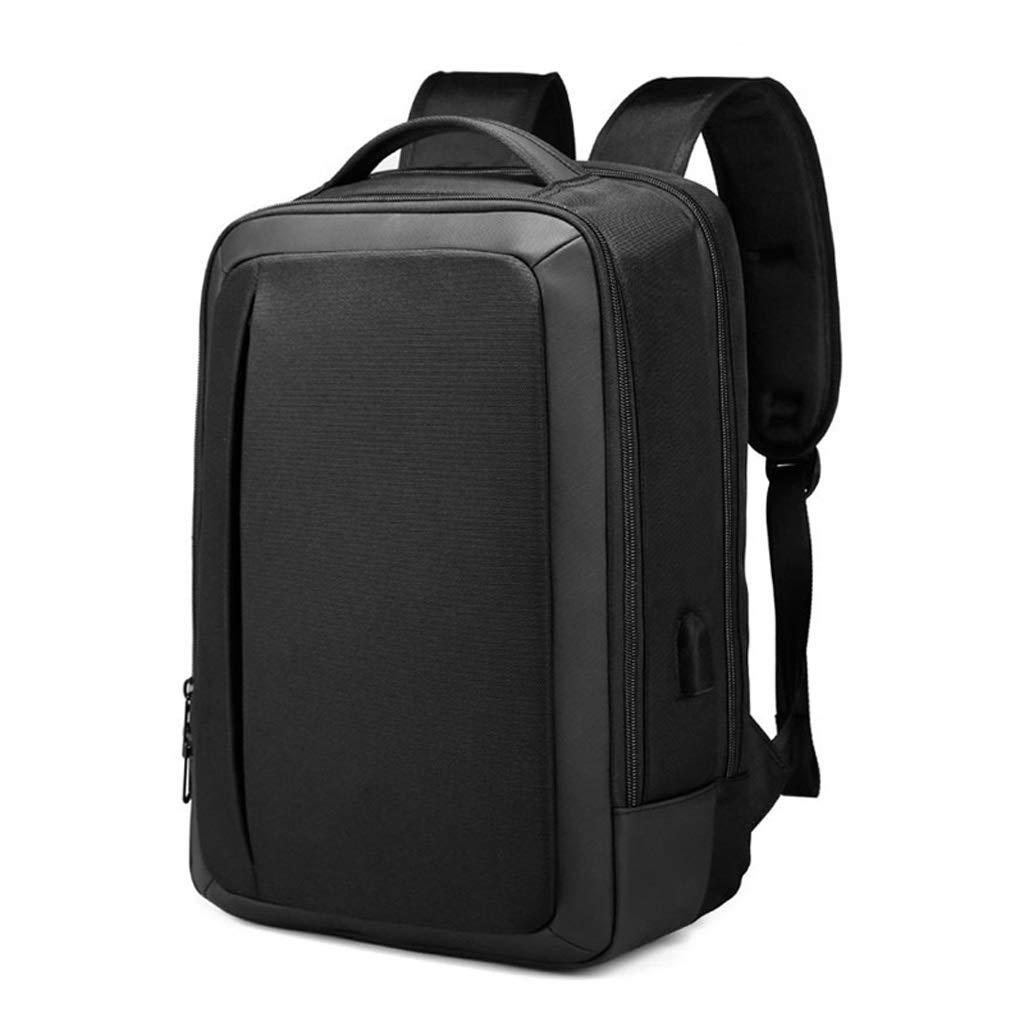 15.6インチのコンピュータのための理想的なノートパソコンのバックパック、レジャー旅行バッグを充電するビジネススクールの防水バッグ多機能USB、 カラー:ブラック、サイズ:S B07PNHFYY6