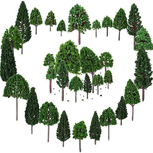 33 Stücke Modell Bäume 1,18 - 6,29 Zoll/ 3 - 16 cm Mixed Model Baum Zug Bäume Eisenbahn Landschaft Diorama Baum Architektur Bäume für DIY Landschaft, Natürliche Grün