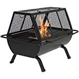 Best Choice Products Steel Grill BBQ Fire Pit Outdoor Cooking Patio Yard Campfire