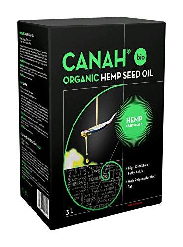 Biologische hennepzaadolie gemaakt door Canah 3 liter – Veganistisch, koudgeperst, ongeraffineerd, rijk aan Omega 3- en…