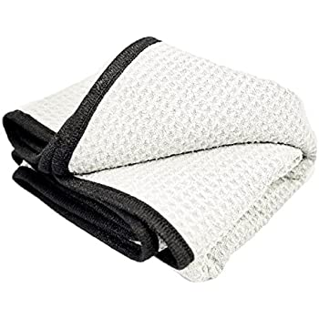 Show Finish Large Waffle Weave Car Detailing and Drying Towel, 380gsm, 20 in. x 40 in, Gray and Black