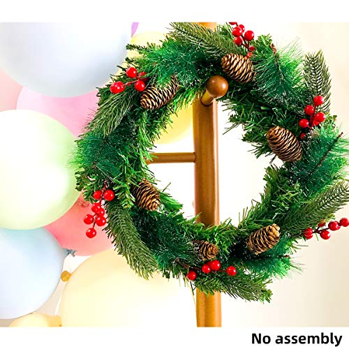 Zohee Decorated Artificial Christmas Wreath with Merry Christmas Letters Silver Bristles Cones Red Berries,for Front Door Outdoor Home Decor Indoor Mailbox Car Windows Decoration-Unlit,Handmade (Ideas Fresh Wreath Christmas)