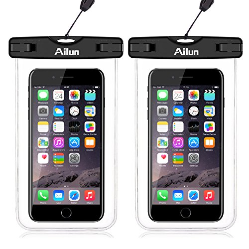 AILUN Waterproof Phone Pouch,2pack IPX8 Snowproof,Dirtproof Case Bag,Universal Compatible iPhone X/Xs/XR/Xs Max/8 Plus,7/7Plus,6 Plus/6/6s,Galaxy S9/S9+,S8/S7,Boating/Hiking/Swimming/Diving[Clear]